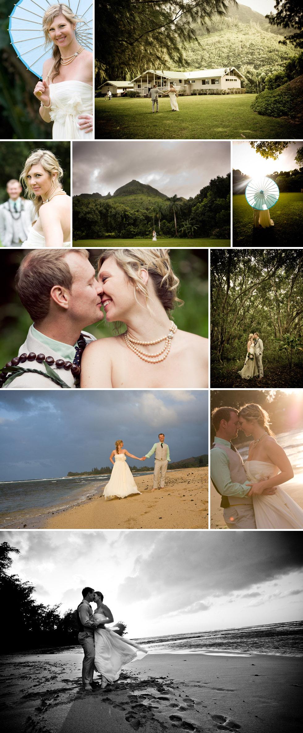 Couple on Kauai beach wedding