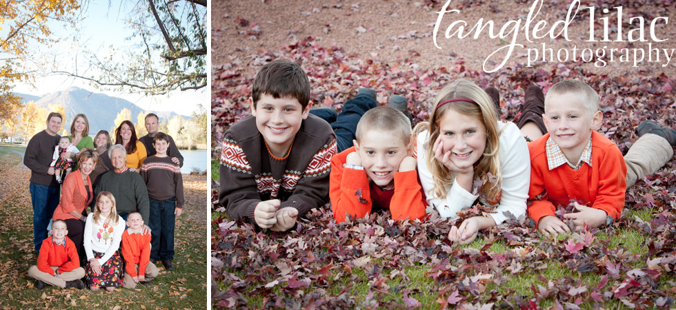 children, portrait, fall leaves, family photography