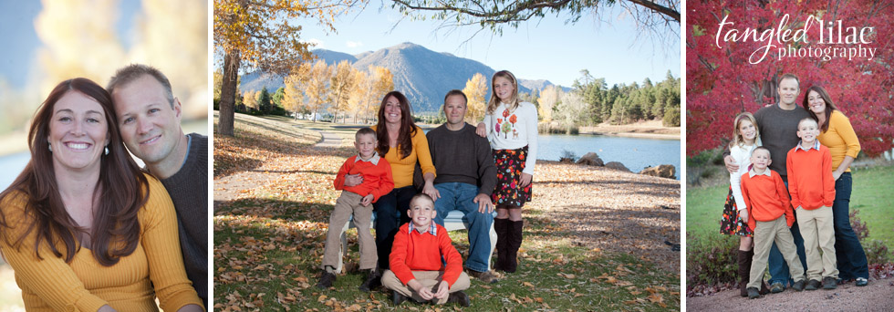 large family photography, fall, orange, gold leaves