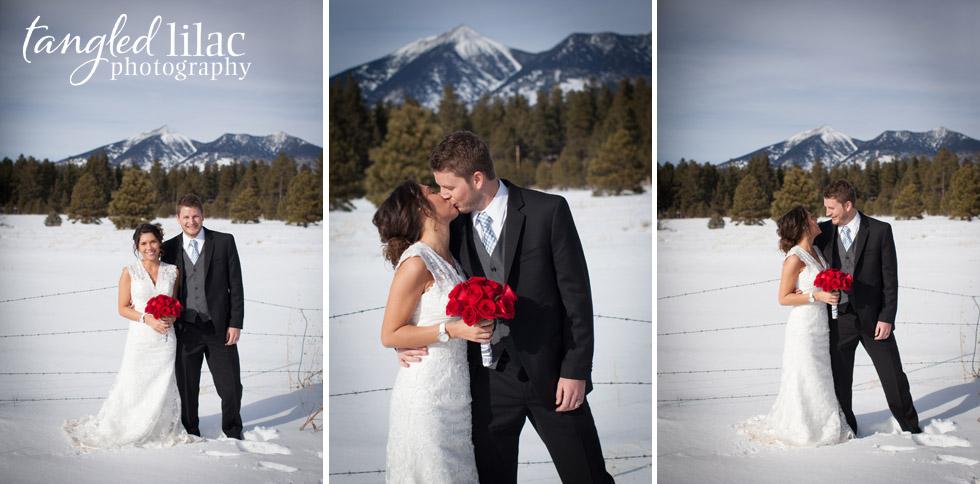 bride and groom, mountains, snow wedding, flagstaff wedding photography
