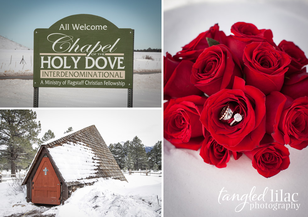 Flagstaff Wedding Photography, Snow, winter, bride and groom,  Chapel of the Holy Dove