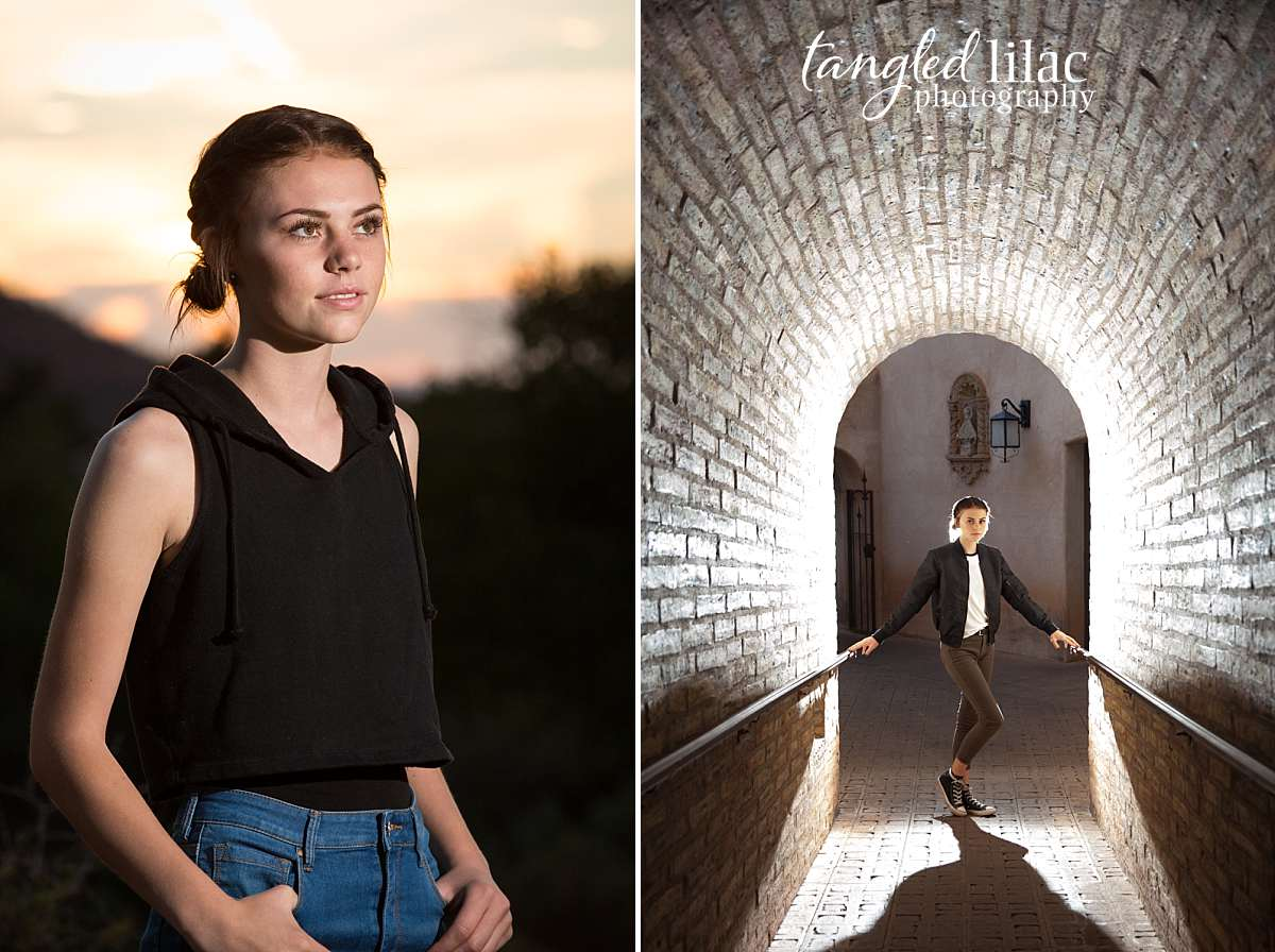 High School Senior at Tlaquepaque in Sedona Arizona at the golden hour at sunset with dramatic lighting in Lucky jeans photographed by Melissa  Dunstan