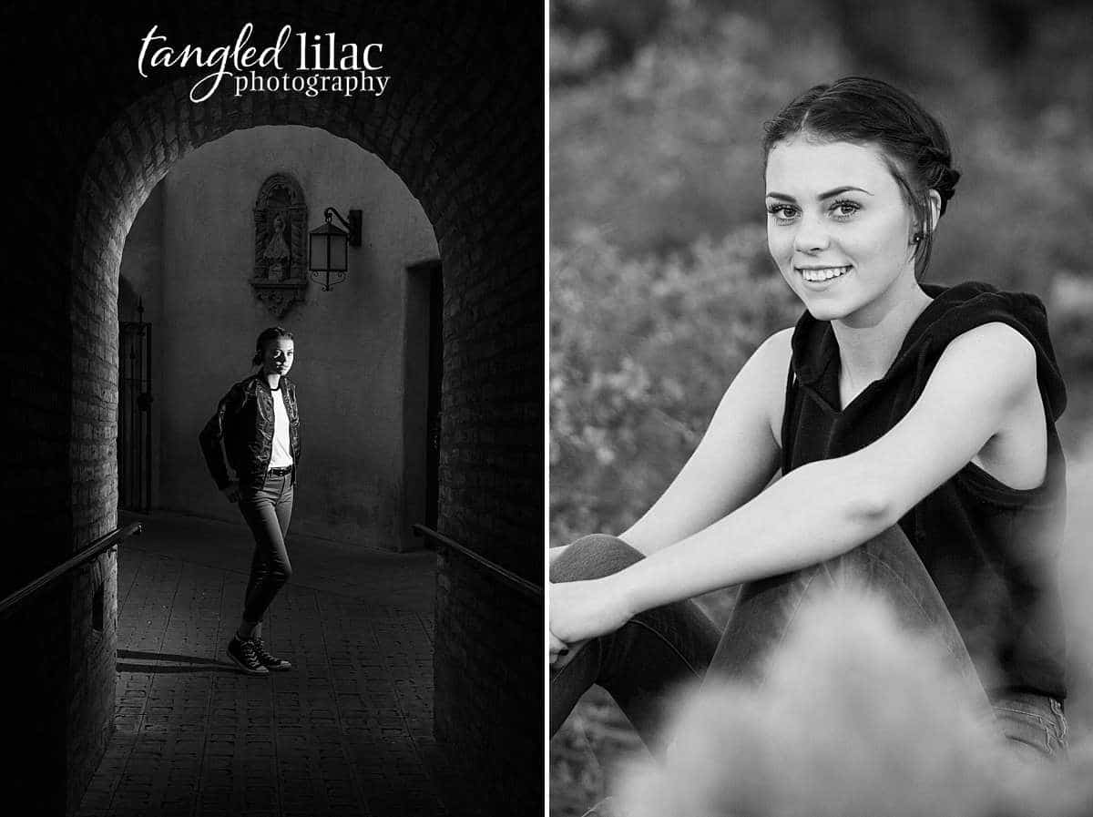 Girl in a black top and jeans in the sagebrush and bushes for her senior photographs near Los Angeles California