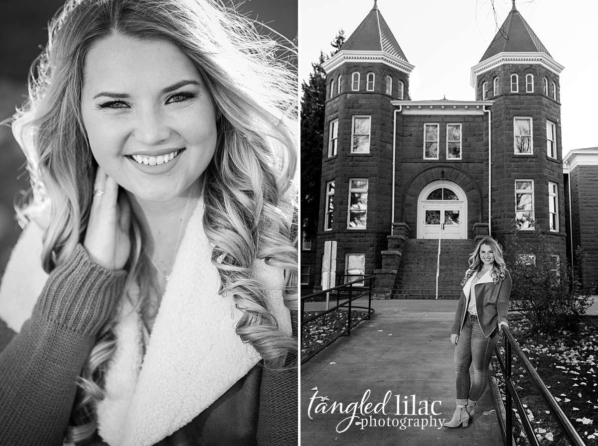 Black and White photos of college senior in front of Old Main at Northern Arizona University