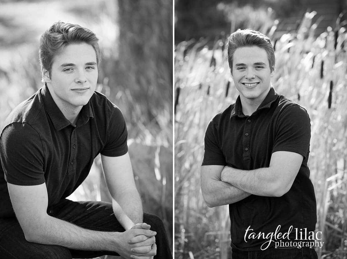 Black and white male high school senior in the tall grasses in a field