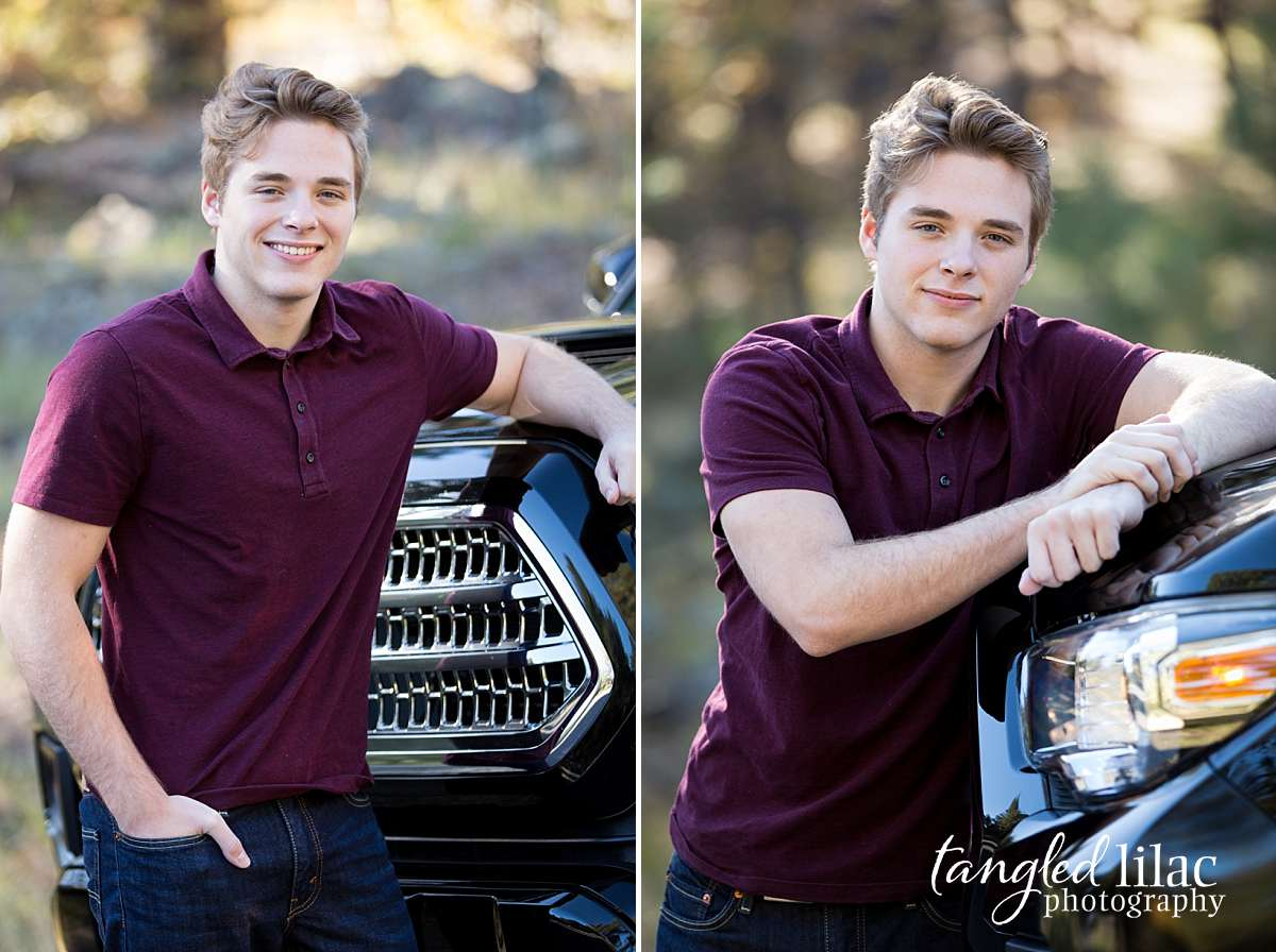 High School Senior photos with male and his toyota truck
