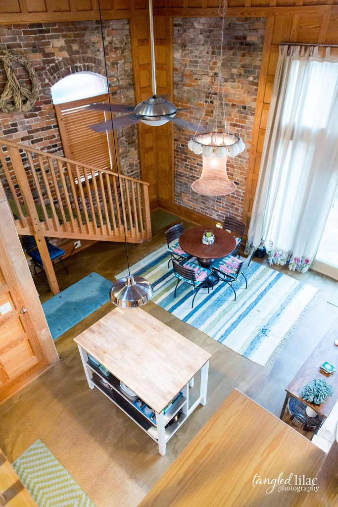 Upper level view of living area in beach cottage by Real Estate Photographer Melissa Dunstan